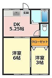 東京都江戸川区上一色3丁目の賃貸マンションの間取り