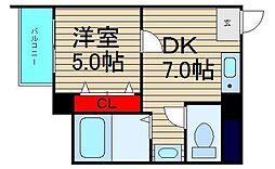 大阪ドームインながほり[301号室]の間取り