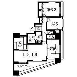 コスモ唐人町パークビュー[8階]の間取り