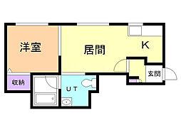 J'sコート東札幌 2階1LDKの間取り