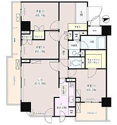 東京メトロ丸ノ内線 中野坂上駅 徒歩3分の賃貸マンション 2階3LDKの間取り