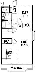 ファミーユ安座[3階]の間取り