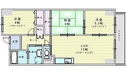 阪急千里線 吹田駅 徒歩12分の賃貸マンション 5階3LDKの間取り