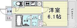 JR東西線 大阪天満宮駅 徒歩2分の賃貸マンション 7階1Kの間取り