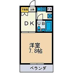 フローラマンション妻田[1階]の間取り