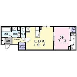 JR東海道・山陽本線 茨木駅 徒歩19分の賃貸アパート 2階1LDKの間取り
