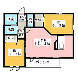 メゾンサツキ[1階]の間取り