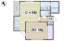 東京都北区中里2丁目の賃貸アパートの間取り
