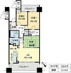 ベレーサ鶴舞公園[14階]の間取り