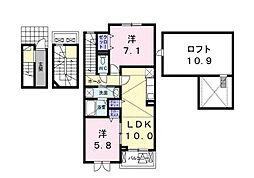 カンパニュー逢坂[3階]の間取り