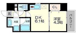 サムティガーデン江坂I 4階1DKの間取り