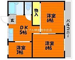 岡山県倉敷市川入丁目なしの賃貸アパートの間取り