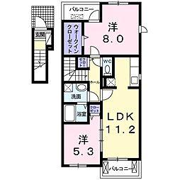 埼玉県志木市上宗岡4丁目の賃貸アパートの間取り