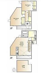東急東横線 都立大学駅 徒歩15分の賃貸アパート 1階2LDKの間取り