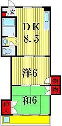 山光ハイムII[2階]の間取り