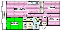 広島県広島市安芸区矢野東4丁目の賃貸マンションの間取り