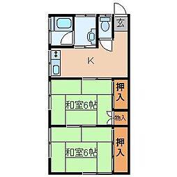 共栄荘[1号室]の間取り