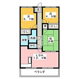 オーヴェールE[2階]の間取り