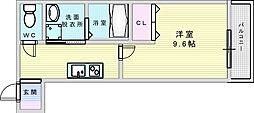 フジパレス江坂町 2階1Kの間取り