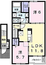 ラ・ポールII 2階2LDKの間取り