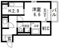 セジュール・ユイット西岩田[203号室号室]の間取り