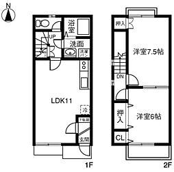 愛知県刈谷市高須町乾の賃貸アパートの間取り