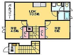 マジェスティックI・II[2階]の間取り