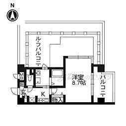 京都市営烏丸線 丸太町駅 徒歩8分の賃貸マンション 6階1Kの間取り