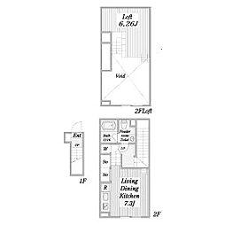 名古屋市営名港線 日比野駅 徒歩13分の賃貸アパート 2階ワンルームの間取り
