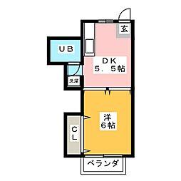 フローラ植田[3階]の間取り