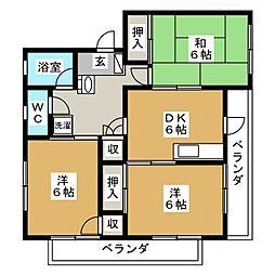八軒パークハイツ[4階]の間取り