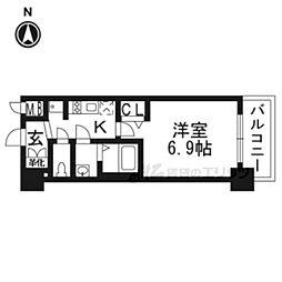 京都市営烏丸線 十条駅 徒歩5分の賃貸マンション 3階1Kの間取り