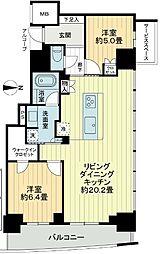 大阪ひびきの街ザ・サンクタスタワー 15階2LDKの間取り