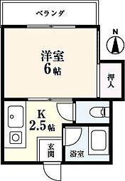 コーポ城南I[3階]の間取り