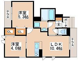 JR山陽本線 明石駅 バス10分 西区役所前下車 徒歩8分の賃貸アパート 1階2LDKの間取り