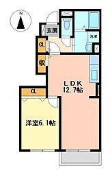 愛知県名古屋市中川区中須町の賃貸アパートの間取り