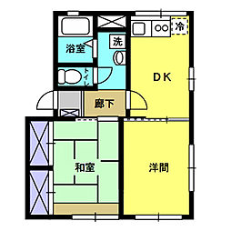 ストリームII 2階2DKの間取り