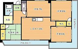 ロイヤルハイツ鷹の巣(特優賃)[6階]の間取り
