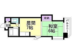 オルゴグラート札幌 2階1DKの間取り