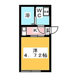 (仮称)鶴見区岸谷2丁目アパートNo.3新築工事 1階1Kの間取り