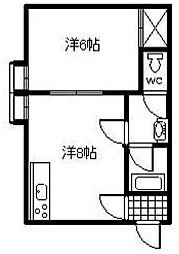 コンフレ−ル富岡[205号室]の間取り