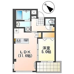 JR山陽本線 魚住駅 徒歩2分の賃貸マンション 3階1LDKの間取り