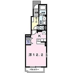カーサ・アバンツァート B 1階1Kの間取り