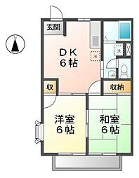 愛知県清須市春日落合の賃貸アパートの間取り
