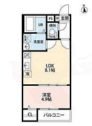 アークティカ上飯田(アークティカカミイイダ) 3階1LDKの間取り