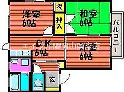 岡山県岡山市中区平井4丁目の賃貸アパートの間取り