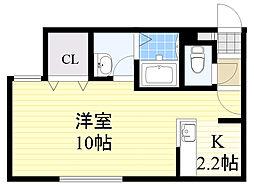 札幌市電2系統 西15丁目駅 徒歩5分の賃貸マンション 2階1Kの間取り
