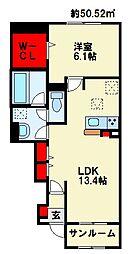 ベンティスカ 1階1LDKの間取り
