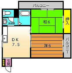 メゾンドゥメール東湊[102号室]の間取り