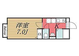 千葉県佐倉市六崎の賃貸アパートの間取り